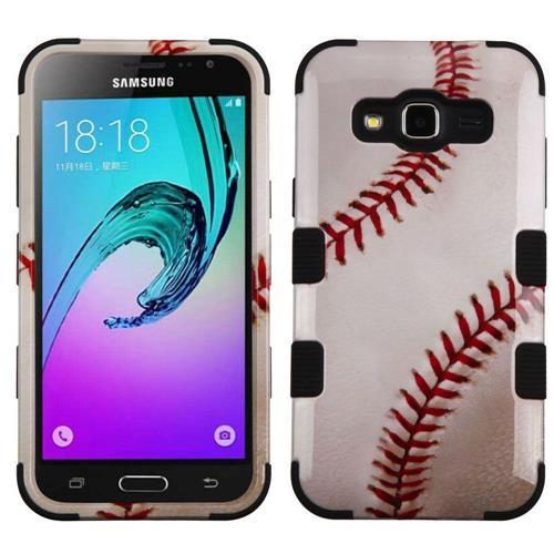 Insten Baseball Hybrid Rubber Case For Samsung Galaxy Amp Prime/Express Prime /Sky/Sol, White/Red