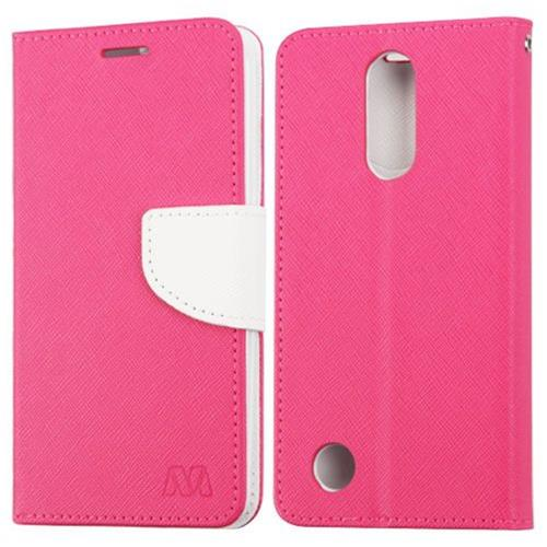 Insten Book-Style Leather Fabric Case w/stand/card holder For LG LV3 - Hot Pink/White