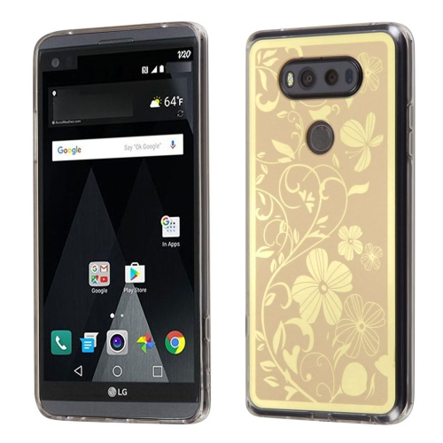 Insten Phoenix-tail Flowers Rubber Case For LG V20 - Gold