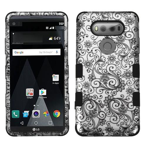 Insten Tuff Four-leaf Clover Hard Dual Layer Rubberized Silicone Cover Case For LG V20 - Black