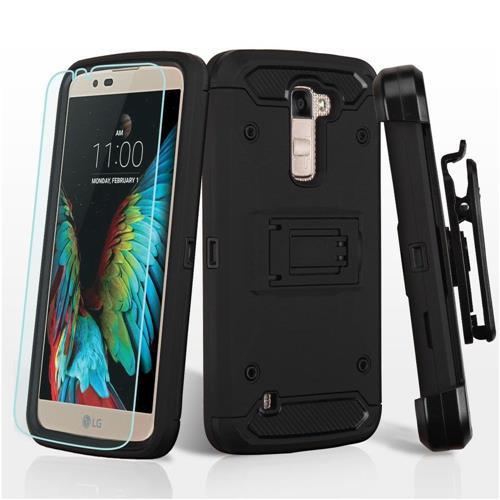 Insten Hard Hybrid TPU Case w/stand/Holster For LG K10 (2016)/Premier LTE - Black