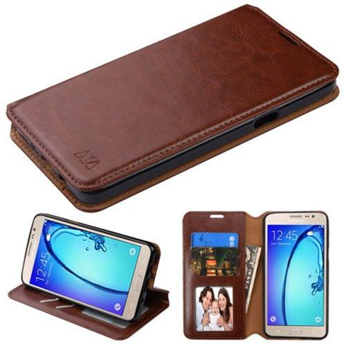 Insten Folio Leather Fabric Case w/stand/card holder For Samsung Galaxy On5 - Brown