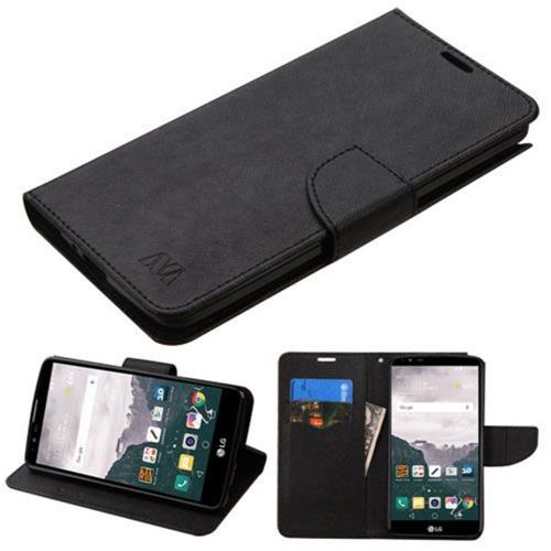 Insten Folio Leather Fabric Cover Case w/stand/card slot For LG Stylo 2 Plus - Black
