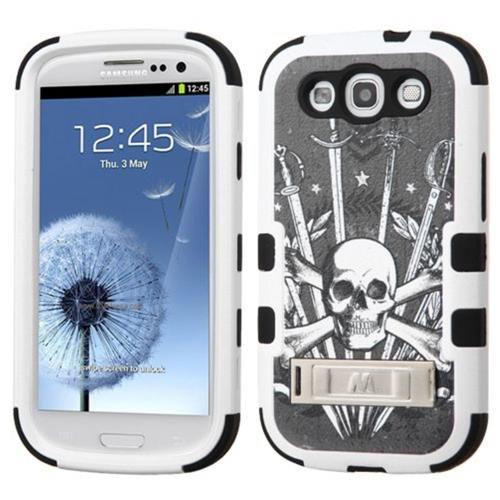 Insten Tuff Sword & Skull Hard Hybrid Silicone Case w/stand For Samsung Galaxy S3 - Black/White
