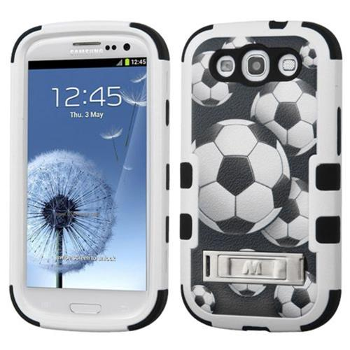 Insten Soccer Ball Collage Hard Rubberized Silicone Case w/stand For Samsung Galaxy S3, Black/White