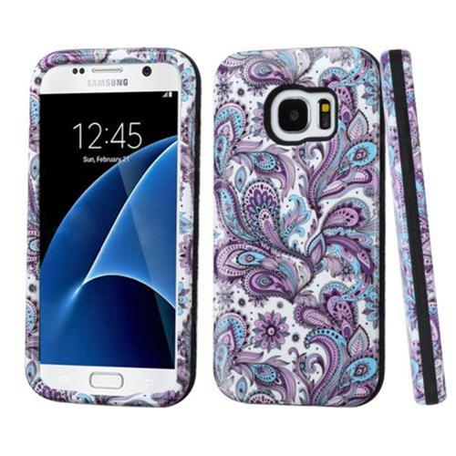 Insten European Flowers Hard Dual Layer Silicone Cover Case For Samsung Galaxy S7 - Purple/White