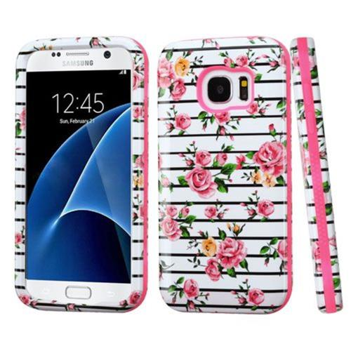 Insten Fitted Soft Shell Case for Samsung Galaxy S7 - White;Pink