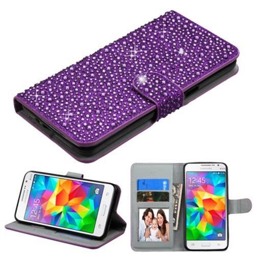 Insten Leather Rhinestone Case w/stand/Photo Display For Samsung Galaxy Grand Prime, Purple