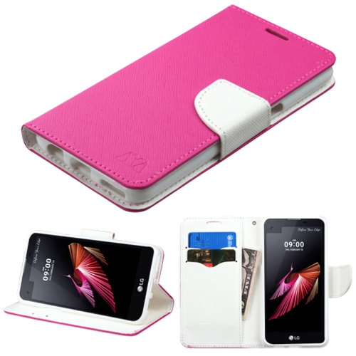 Insten Folio Leather Fabric Case w/stand/card slot For LG X Screen - Hot Pink