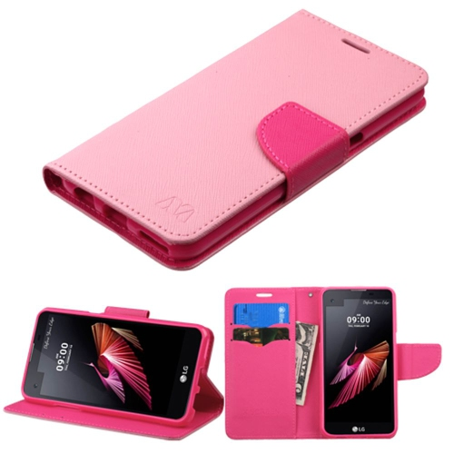 Insten Book-Style Leather Fabric Case w/stand/card slot For LG X Screen - Pink/White