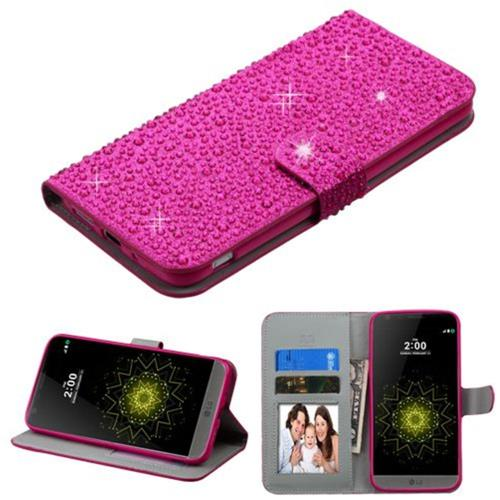 Insten Folio Leather Rhinestone Cover Case w/stand/card holder/Photo Display For LG G5 - Hot Pink