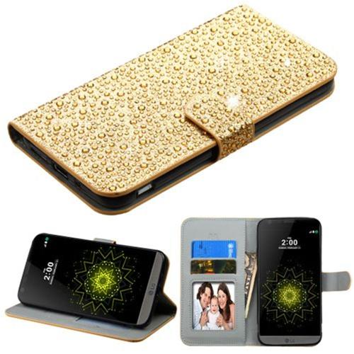 Insten Book-Style Leather Rhinestone Case w/stand/card holder/Photo Display For LG G5 - Gold