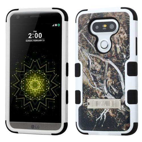 Insten Tuff Vines Hard Dual Layer Rubberized Silicone Case w/stand For LG G5 - Yellow/Black