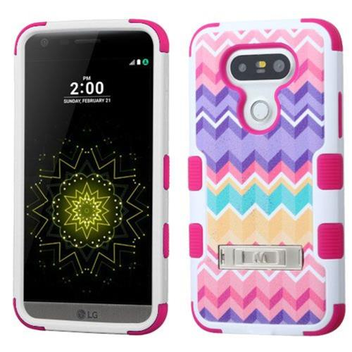 Insten Tuff Camo Wave Hard Hybrid Rubberized Silicone Cover Case w/stand For LG G5 - Pink/Purple