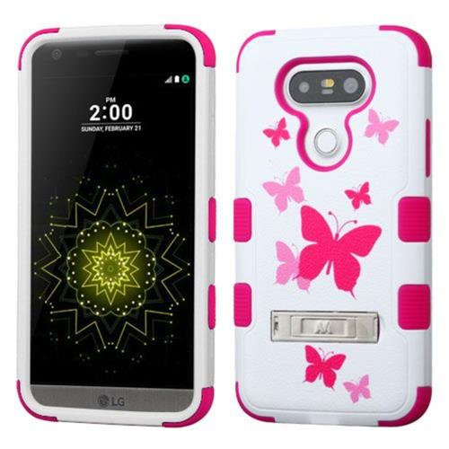 Insten Tuff Butterfly Dancing Hard Hybrid Rubber Silicone Cover Case w/stand For LG G5 - Pink/White