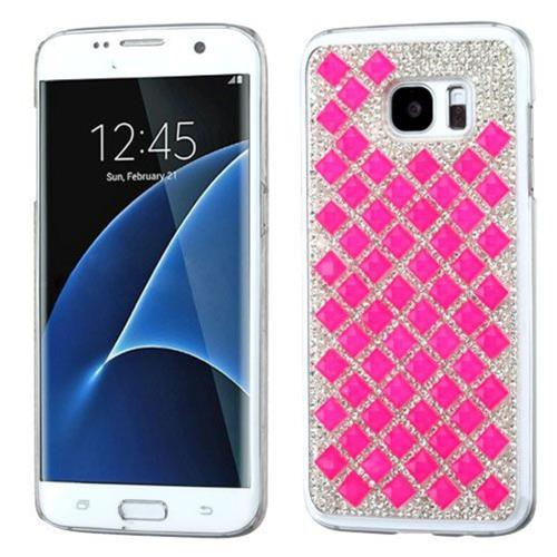 Insten Hard Diamond Cover Case For Samsung Galaxy S7 Edge - Hot Pink