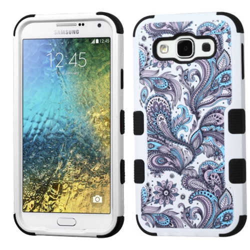 Insten European Flowers Hard Hybrid Rubberized Silicone Case For Samsung Galaxy E5 - Purple/White