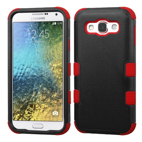 Insten Tuff Hard Dual Layer Rubber Coated Silicone Cover Case For Samsung Galaxy E5 - Black/Red