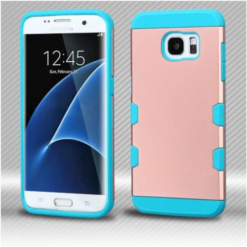 Insten Hard Rubberized Silicone Case For Samsung Galaxy S7 Edge - Rose Gold/Teal