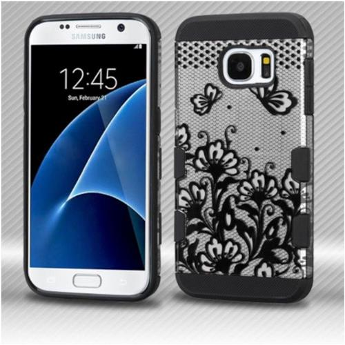 Insten Lace Flowers Hard Rubberized Silicone Cover Case For Samsung Galaxy S7 - Black