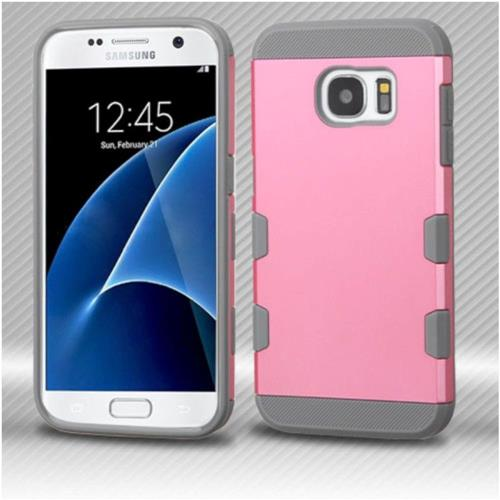 Insten Hard Rubber Silicone Case For Samsung Galaxy S7 - Pink/Gray