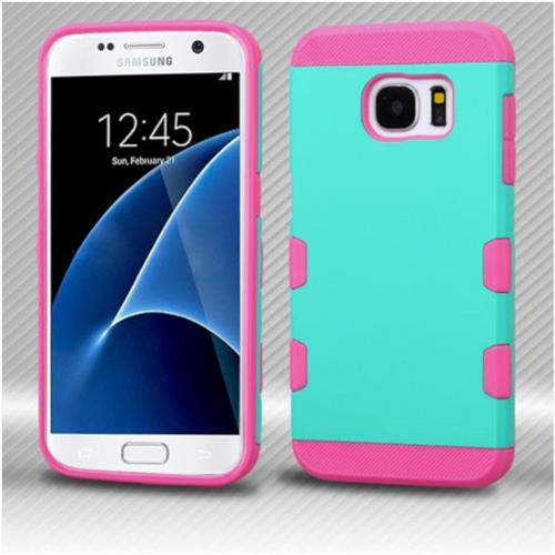 Insten Hard Rubber Silicone Case For Samsung Galaxy S7 - Teal/Pink