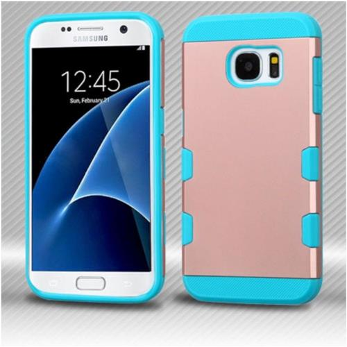 Insten Hard Silicone Case For Samsung Galaxy S7 - Rose Gold/Teal