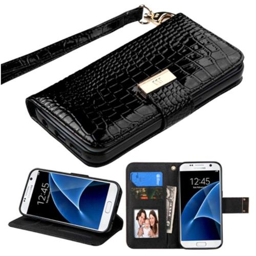 Insten Flip Leather Crocodile Skin Case Lanyard w/stand/Photo Display For Samsung Galaxy S7, Black