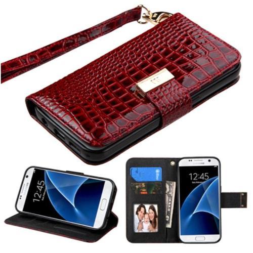 Insten Folio Leather Crocodile Skin Case Lanyard w/stand For Samsung Galaxy S7, Burgundy