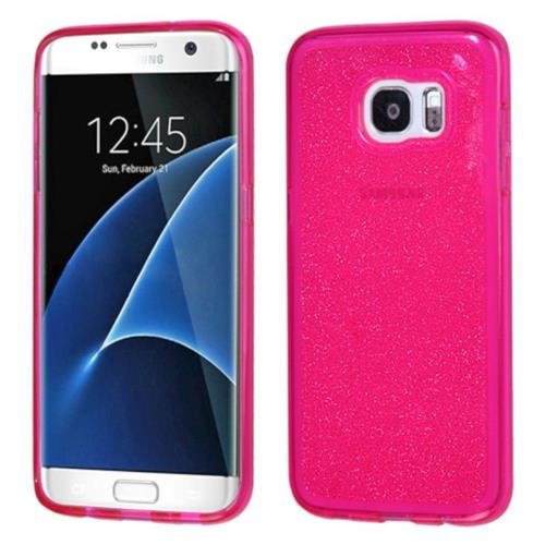 Insten Glittering Gel Glitter Cover Case For Samsung Galaxy S7 Edge - Hot Pink