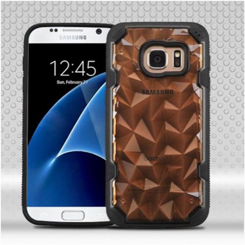 Insten Polygon Hard TPU Case For Samsung Galaxy S7 - Smoke/Black