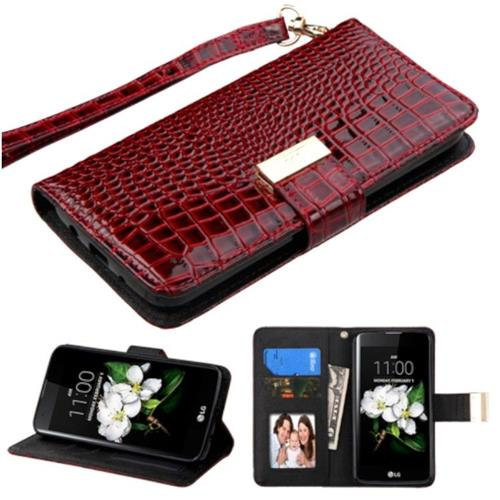 Insten For LG Escape 3 K373 K7 Crocodile Flip Leather Wallet Case Cover Stand Burgundy