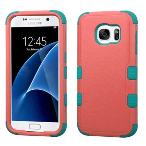 Insten Tuff Hard Hybrid Rubber Silicone Case For Samsung Galaxy S7 - Pink/Teal
