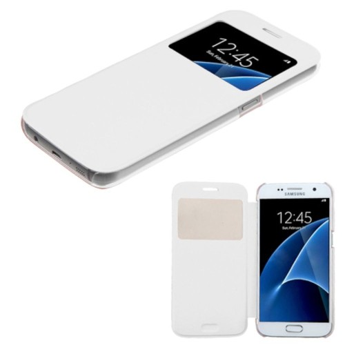Insten Flip Leather Fabric Case For Samsung Galaxy S7 - White