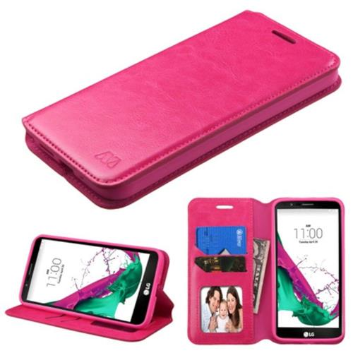 Insten Flip Leather Fabric Cover Case w/stand/card slot/Photo Display For LG G5 - Hot Pink