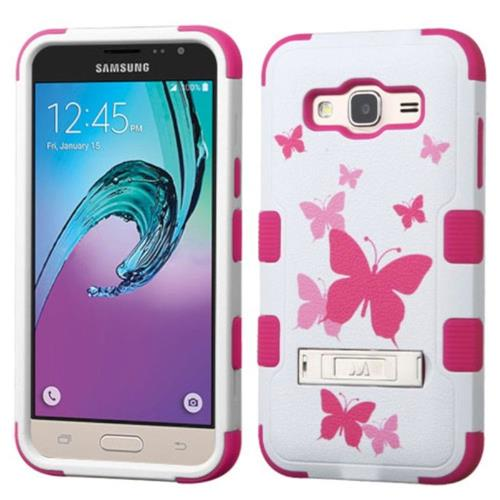 Insten Tuff Butterfly Dancing Hard Cover Case For Samsung Galaxy Amp Prime/J3 (2016) - Pink