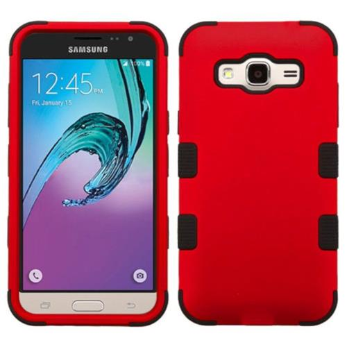 Insten Hard Rubber Coated Silicone Cover Case For Samsung Galaxy Amp Prime/J3 (2016), Red/Black