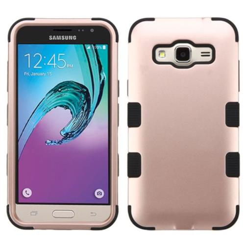 Insten Hard Dual Layer Silicone Cover Case For Samsung Galaxy Amp Prime/J3 (2016), Rose Gold/Black