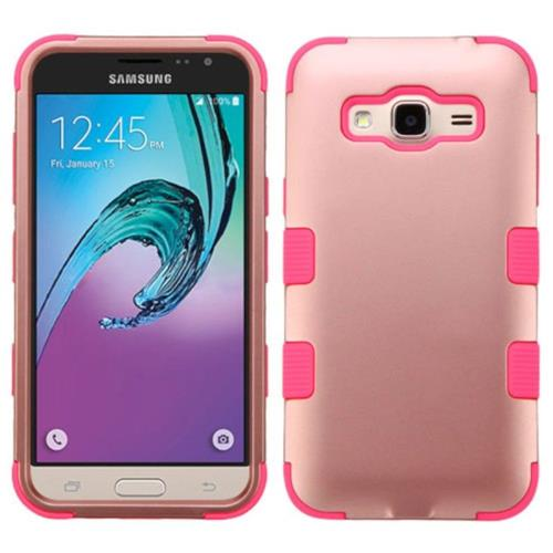 Insten Hard Rubber Coated Silicone Case For Samsung Galaxy Amp Prime/J3 (2016), Rose Gold/Hot Pink