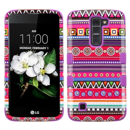 Insten Tuff Tribal Fashion Hard Dual Layer Rubber Silicone Case For LG K7 Tribute 5, Purple/Hot Pink