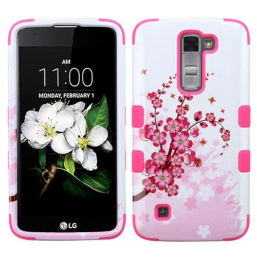 Insten Spring Flowers Hard Hybrid Rubber Coated Silicone Cover Case For LG K7 Tribute 5, Pink/White