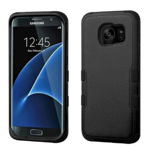 Insten Tuff Hard Hybrid Rubber Silicone Cover Case For Samsung Galaxy S7 Edge - Black