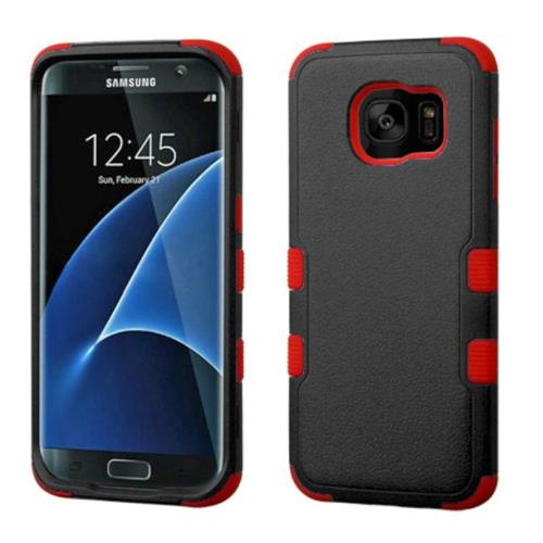Insten Tuff Hard Dual Layer Rubber Coated Silicone Case For Samsung Galaxy S7 Edge - Black/Red
