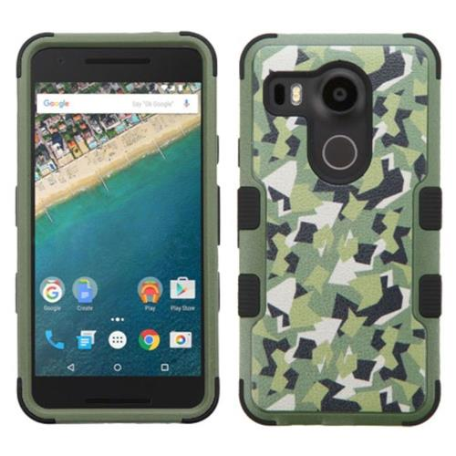 Insten Camouflage Hard Dual Layer Rubber Silicone Cover Case For LG Google Nexus 5X, Green/Black
