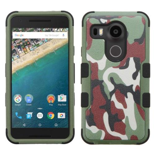 Insten Tuff Camouflage Hard Hybrid Rubber Silicone Cover Case For LG Google Nexus 5X - Green/Brown