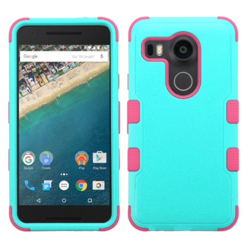 Insten Tuff Hard Hybrid Rubberized Silicone Case For LG Google Nexus 5X - Teal/Hot Pink