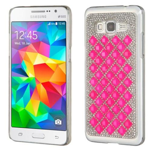 Insten Hard Diamante Case For Samsung Galaxy Grand Prime - Silver/Hot Pink