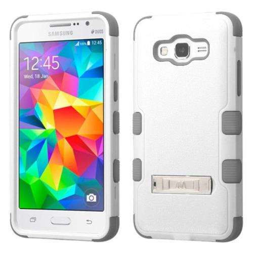 Insten Hard Rubberized Silicone Cover Case w/stand For Samsung Galaxy Grand Prime, White/Gray