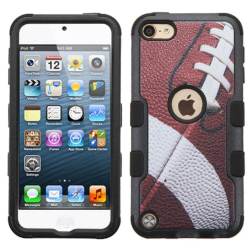 Insten Football Hard Hybrid Rubber Silicone Case For Apple iPod Touch 5th Gen/6th Gen, Brown/Black