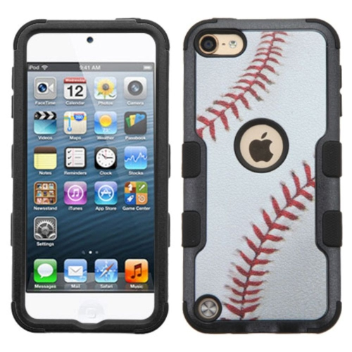 Insten Tuff Baseball Hard Hybrid Silicone Case For Apple iPod Touch 5th Gen/6th Gen - White/Brown